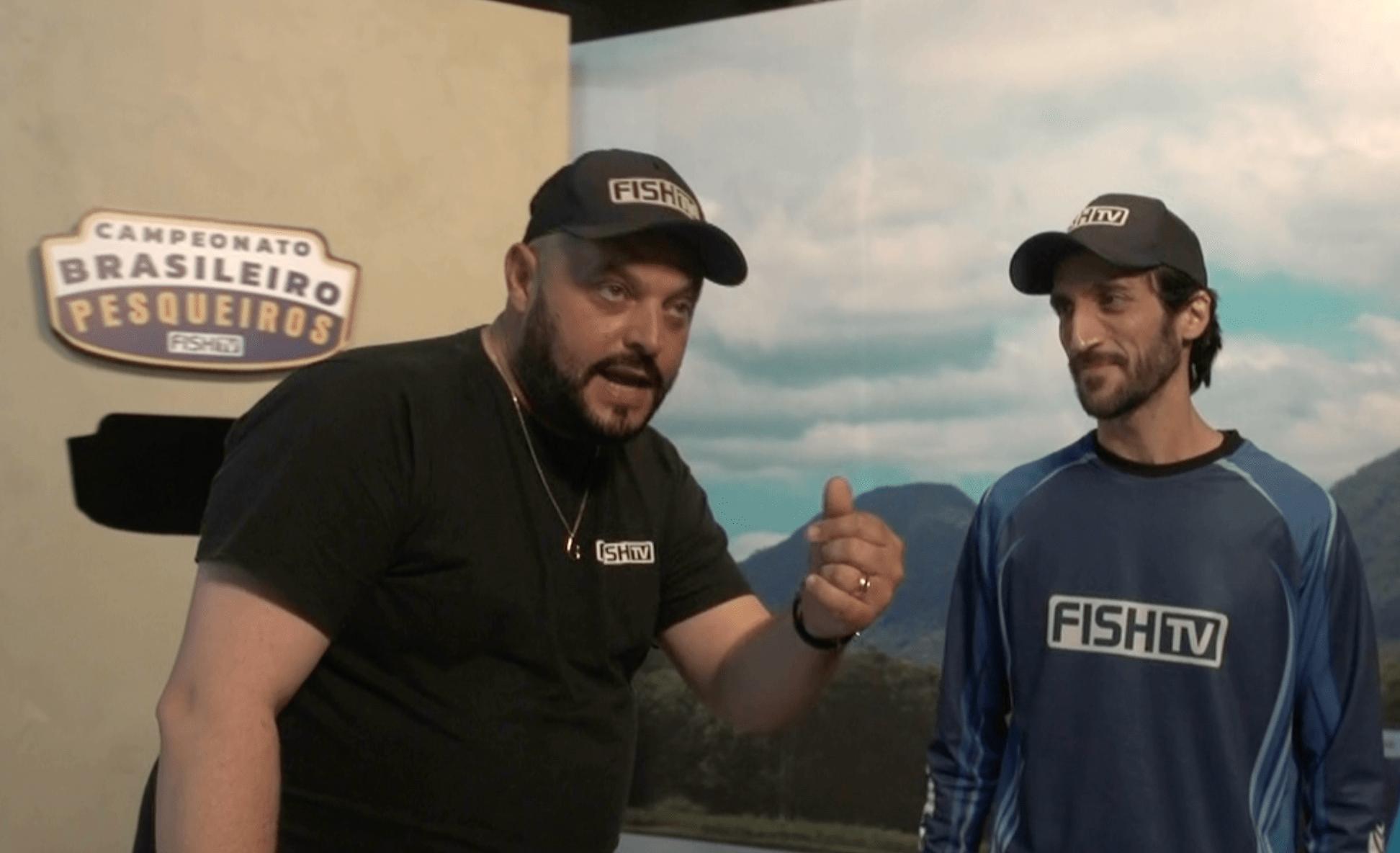 Luciano LP e Kléber Sanches em gravação na Fish TV