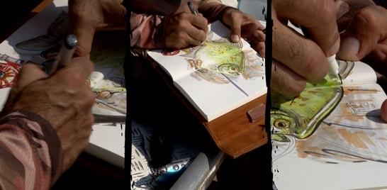 Desenhar e pescar: essa é a pegada