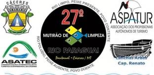 Cáceres realiza mutirão de limpeza do rio Paraguai