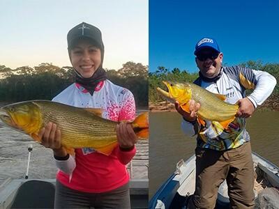 Janar e Viviane pescando dourados em Mato Grosso